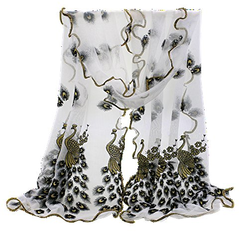 Golden Wrap (Sanwood Trendy Women Gauze Embroidered Peacock Veil Church Mantilla Scarf Shawl Wrap)