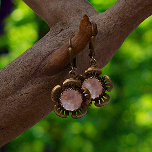 (Recycled Antique Pink Depression Glass and Antique Brass Flower Leverback Earrings)