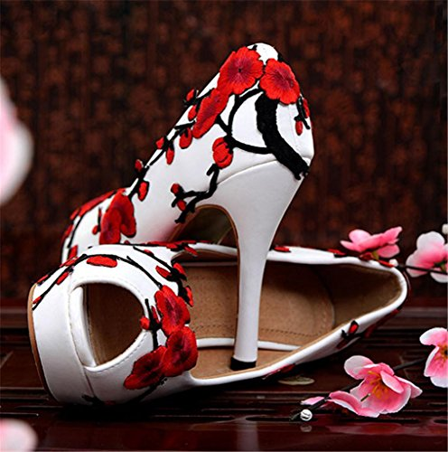 Dress Bowtie Pumps Heel Boda Novia Whese Zapatos Trabajo Calidad Buena with De Partido Shoes MNII Women's High Court Party WORxAwqq1C