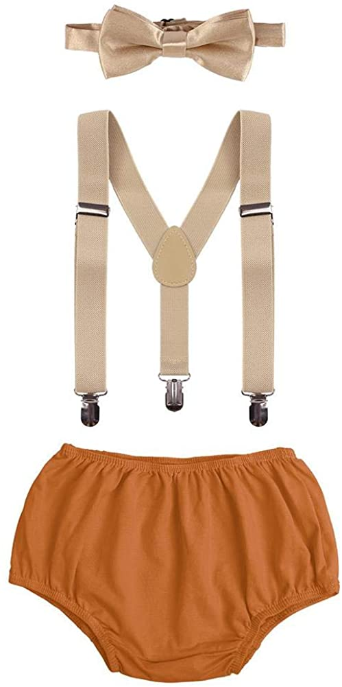Rainbow and Orange Adjustable Y-Back Suspender Bloomers Bowtie Necktie for Child 1st Birthday Party By Kajeer Baby Boys Cake Smash Outfit