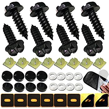 License Plate Security Screw Cap Covers w// SCREWS and NYLON NUTS Flat Black