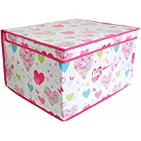 Childrens/Girls Heart & Flower Design Folding Storage Chests (Pack Of 2) (One Size) (Multicolored)
