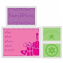 Sizzix Textured Impressions Embossing Folders 4/Pkg-Birthday
