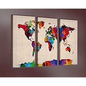 Modern World Map Canvas. Nuolanart  WORLD MAP IN WATERCOLOR Premium Canvas Art Print 28x14 inch x 3 Amazon com Framed Prints Map NLEADER Wall