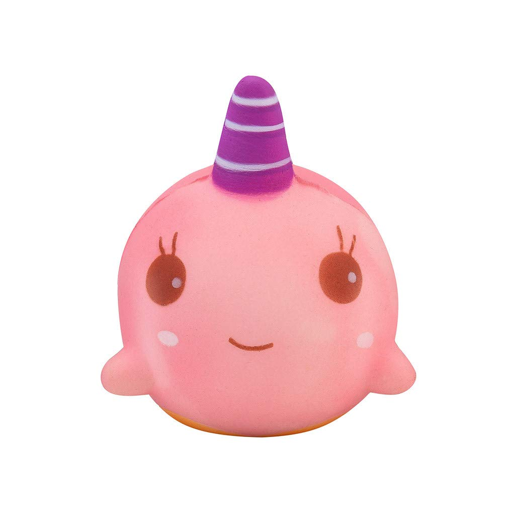FORESTIME Temperature Color Change Narwhal Whale Toy - Squishy Toy for Stress Relief Kawaii Slow Rising Super Soft with Sweet Scented Cream Cute Toys for Kids Adult (Pink, 100x80mm)