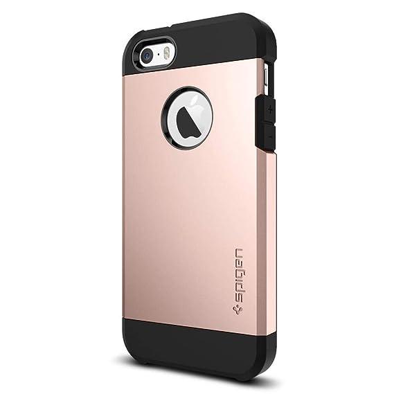 iPhone SE Hülle, Spigen® [Tough Armor] Extrem Fallschutz [Rose Gold] Doppelte Schutzschicht Stoßabweisende Handyhülle Silikon