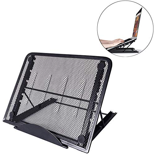 RAINBEAN Mesh Ventilated Adjustable Laptop Stand, Portable Folding Light Box Laptop Pad Stand, 6 Angles Positions Desktop Stand Holder Mount for MacBook Notebook Computer PC iPad Tablet