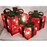 Christmas Decoration - Set of 3 Lit Sisal Parcels Red With Green Ribbon by Premier