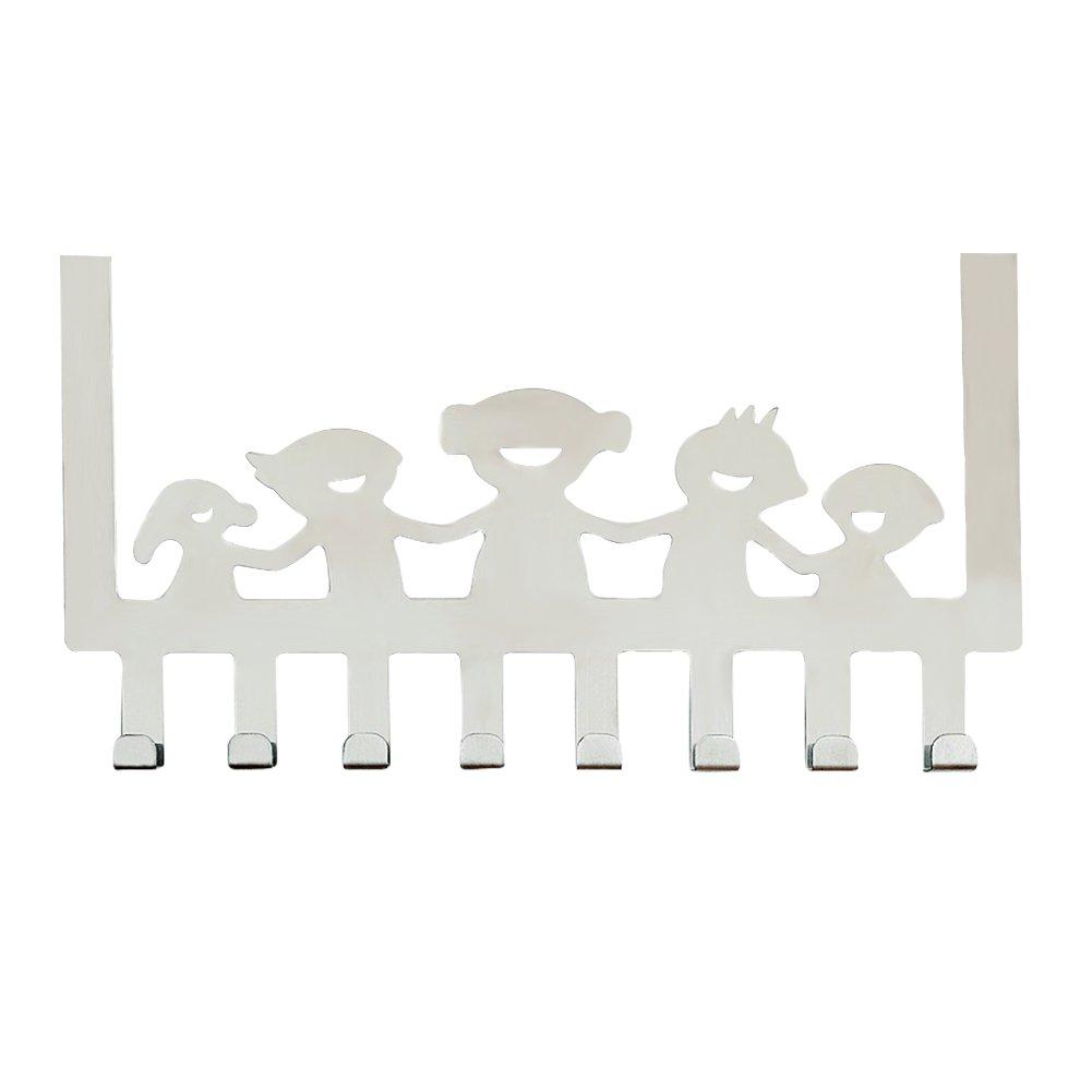 Over the Door Hooks,SHZONS Stainless Steel Door Back Hook,Multi-purpose Coat Hat Hanger Traceless Nail-free Door Back Follower Hook