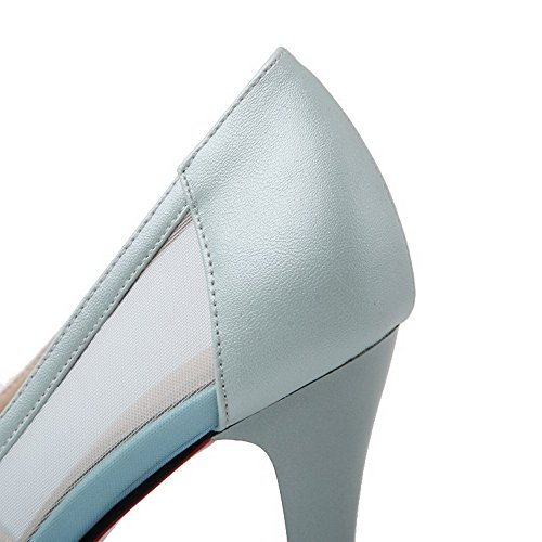 Allhqfashion Dames Solide Pu Spikes Stiletto Wees Gesloten Teen Trek Op Pumps-schoenen Blauw