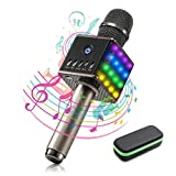 NASUM LED Wireless Karaoke Microphone, Handheld Cellphone Karaoke Player,H8 Karaoke Mic Built in Bluetooth Speaker,Karaoke MIC Machine for Home KTV with Carry Case,2600mAh,Black