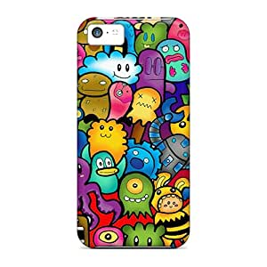 High Quality OrangeColor Cute Monsters Skin Case Cover Specially Designed For Iphone - 5c