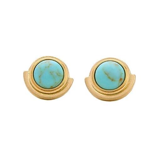 d9a21c3ab Amazon.com: Peony.T Bohemian Turquoise Earrings Stud Simple Gem Stud ...