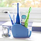 j-me Toothbrush holder, Kids Toothpaste Holder | for multiple toothbrushes & bathroom accessories – Animal Bathroom Tidy, Wilson The Whale, Blue