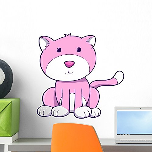 Wallmonkeys WM112737 Cute Chubby Pink and White Kitty Cat Wall Decal Peel and Stick Graphic (18 in H x 14 in W) -