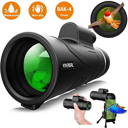 Monocular Telescope - 12X50 High Power 【HD Monocular for Bird Watching】 with Smartphone Holder & Tripod IPX7 Waterproof Monocular Made by Hyper FMC BAK4 Prism & Eco-Friendly Materials