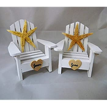 Wedding Reception Personalized Adirondack Chair Beach Starfish Cake Topper