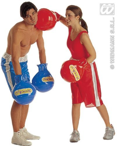 Boxing Gloves - Inflatable - Adult Fancy Dress - Blue by Widman (Fancy Dress Boxing Gloves)