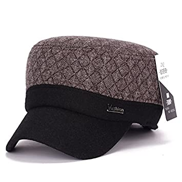Llxln Retro Mens Gorro De Invierno Flat Top Hat Caliente Colgajo ...