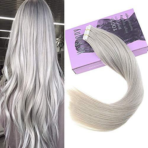 VeSunny Real Human Hair Tape in Grey Hair Extensions 20pcs 50g Remy Gray Tape in Human Hair Extensions 16 -