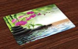 Ambesonne Spa Place Mats Set of 4, Composition Bamboo Tree Floor Mat Orchid Stones Wellness Greenery, Washable Fabric Placemats for Dining Room Kitchen Table Decor, Fuchsia Charcoal Grey Lime Green