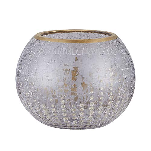 Pavilion - Gold Sparkly Polka Dot Crackled Gray Glass Round 5 Inch Tealight Candle Holder - In Memory Of A Life So Beautifully Lived Dot Polka Dot Candle Holder