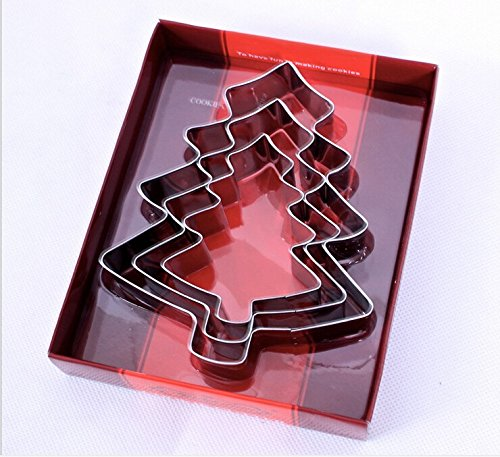 [3Pcs/Set Stainless Steel Christmas Tree Festivel Mousse Cake cookie Biscuit Moulds Cookie Cutter Fondant Icing Mold DIY Baking] (Halloween Cupcakes Frosting Recipe)