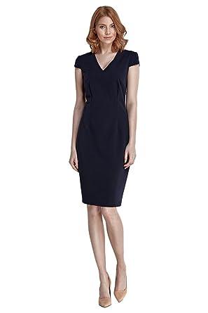 nife – Etuikleid mit kurzen Ärmeln Kurzarm Knielang Bleistift-Kleid  Pencilkleid Büro Office - Dunkelblau