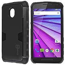 Moto G 3rd Gen Case, CoverON® [Smart Armor Series] Slim Phone Cover Corner Bumper + Grip + Card Slot Case For Motorola Moto G 3rd Generation 2015 - Black & Black