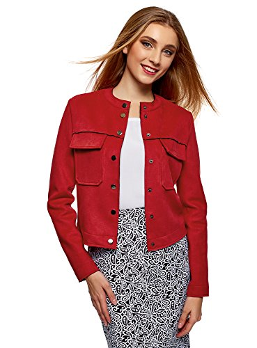 oodji Ultra Women's Faux Suede Jacket with Patch Pockets, Red, 8