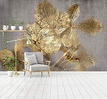 Gold ausgehöhlten Blatt 3D Wandbilder Wallpaper 3D Wand Foto ...
