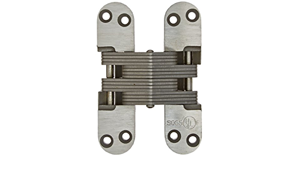 Zinc SOSS 20 Minute Fire Rated Invisible Closer Model 220IC for 2 Thick Material Model Number 220ICUS4 Satin Brass Exterior Finish
