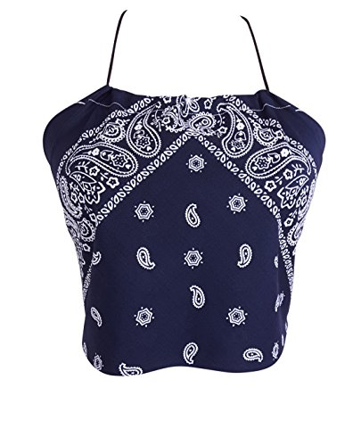 Downright Bandanas Bandana Halter Crop Top Shirt - Womens Clothing (Navy Blue)