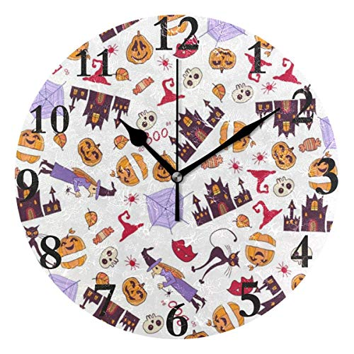 - Dozili Halloween Day Round Wall Clock Arabic Numerals Design Non Ticking Wall Clock Large for Bedrooms,Living Room,Bathroom