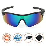 J+S Active PLUS Cycling Outdoor Sports Athlete's Sunglasses, Polarized, 100% UV protection (Black Frame / Green Mirror Lens)