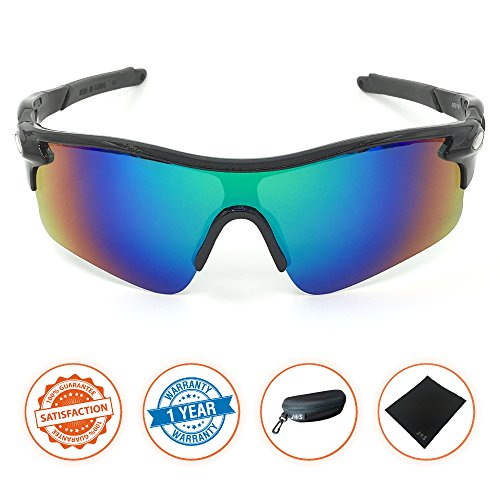 J+S Active PLUS Cycling Outdoor Sports Athlete's Sunglasses, Polarized, 100% UV protection (Black Frame / Green Mirror - Sunglasses Tough