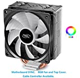 DEEPCOOL GAMMAXX GT, Black Top Cover, CPU Air Cooler, Motherboard Sync, RGB Top Cover and Fan, Cable or Motherboard Control Supported, 4 Heatpipes, 120mm RGB Fan, Universal Socket Solution