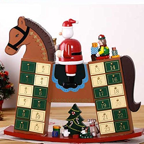 Rocking Horse Advent Calendar New Home Xmas Decoration Reusable Christmas Countdown Present by Zebery®