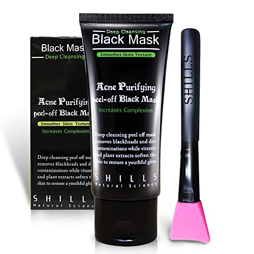 SHILLS Black Mask, Charcoal Peel Off Mask, Peel Off Mask, Charcoal Deep Pore Cleansing Mask, Blackhead Remover Peel Off, Blackhead Purifying Peel Off Mask and Brush Set by SHILLS (Image #7)