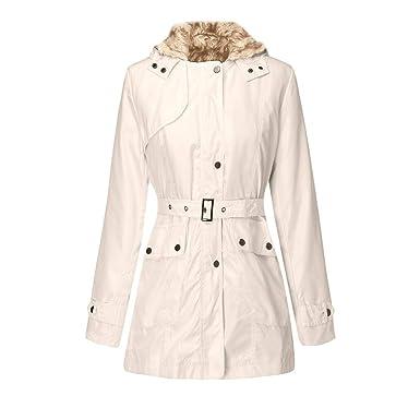 ASHOP Ropa Mujer, Chaquetas Mujer Invierno Elegante Abrigo Rebajas Desigual Parka Outwear (Beige,