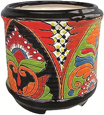 Amazing Amazon Com Talavera Cylinder Pot With Feet Garden Outdoor Machost Co Dining Chair Design Ideas Machostcouk