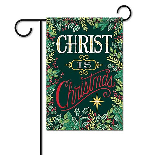 Christ is Christmas Holly Double Sided House Flag