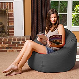 "Posh Bean Bag Chair for Children, Teens & Adults - 35"", Heather Gray"