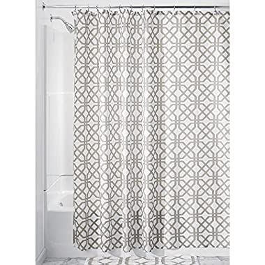 InterDesign Trellis Fabric Shower Curtain - 72  x 72 , Stone Gray/White