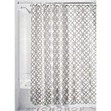 Gray and White Curtains InterDesign Trellis Fabric Shower Curtain - 72