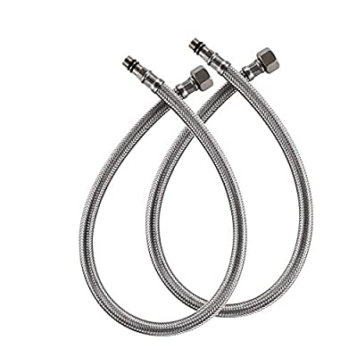 Bathfinesse 32-Inch Long Braided Stainless Steel Supply Hose Faucet Connector 1/2-Inch Female Compression Thread, x 2 Pcs (1 Pair)