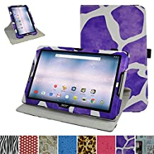 "Acer Iconia One 10 B3-A30 Rotating Case,Mama Mouth 360 Degree Rotary Stand With Cute Lovely Pattern Cover For 10.1"" Acer Iconia One 10 B3-A30 Android Tablet, Giraffe Purple"