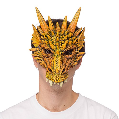 Supersoft Fantasy Adult Dragon Half Face Halloween Mask (Orange) -