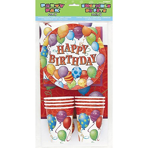 Birthday Balloons Party Pack for 8 Guests by Unique Party by Unique Party