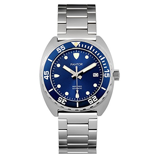 Stainless Steel Buckle Dial (Pantor Sealion 300m Automatic 42mm Pro Dive Watch with Helium Valve Rotating Bezel Sapphire Blue dial Stainless Steel Bracelet & Rubber Strap Sports Watch)